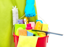 Maid hands with cleaning tools. Royalty Free Stock Photos