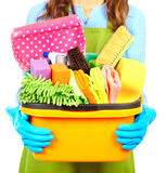 Maid hands with cleaning tools. stock photography