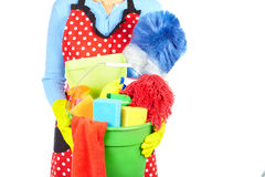 Maid hands with cleaning tools. royalty free stock photo