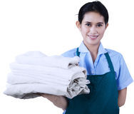 Maid is holding towels 1 Stock Photography