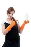 Maid holiding detergent Stock Photos