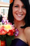 Maid of Honor. Beautiful maid of honor with her colorful bouquet Royalty Free Stock Photography