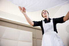 Maid Making Bed Royalty Free Stock Photo