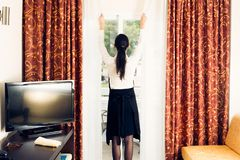Maid Making A Hotel Room Royalty Free Stock Images
