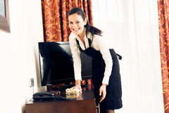 Maid Making A Hotel Room Stock Images