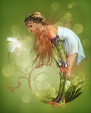 Maid meets Fae. A little girl has found a fairy Royalty Free Stock Images