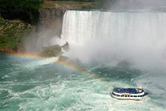 Maid of the Mist. Rainbow at Niagara Falls - Maid of the Mist Boat Tour Stock Images