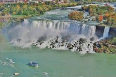 Maid of the Mist Boat at Niagara Falls Aerial View. USA Stock Image