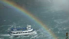 Maid of the Mist on Niagara Falls. Maid of the Mist touring Niagara Falls with rainbow from mist Stock Image