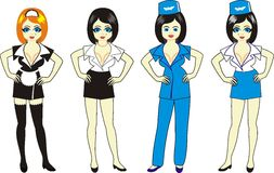 "Maid. Secretary. Waitress. Comic illustration in ""cartoon"" style Royalty Free Stock Photo"