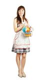 Maid with set of tea cups Royalty Free Stock Images