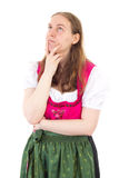 Maid thinks about right solution Stock Photo