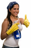 Maid with thumbs up Royalty Free Stock Images