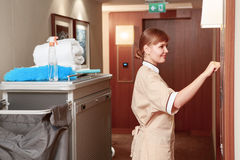 Maid trolley in the hall Royalty Free Stock Photo