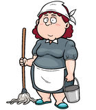 Maid. Vector illustration of Cartoon Maid with broom Stock Photography
