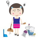 Maid. Vector illustration of professional maid is busy Royalty Free Stock Photo