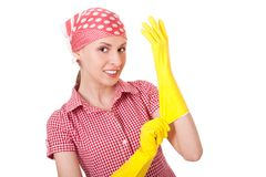 Maid woman is ready for cleaning Stock Photos