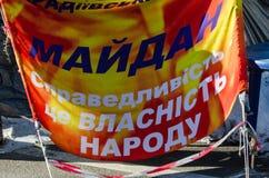 Maidan抗议2014年1月31日在基辅,乌克兰 图库摄影