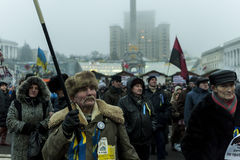Maidan - activist during rally on independence square with flag Stock Images