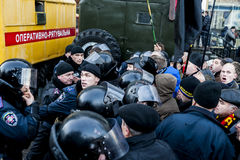 Maidan - activists clash with police forces in Kiev. Kiev, Ukraine, 21 December 2013: Maidan - activists clash with police forces in Kiev on Hrushchevkoho street Stock Image