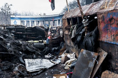 Maidan - barricades on Hrushchevkoho Street near Dynamo Stadium Stock Photo