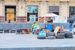 Maidan-Barrikaden Nach den Ereignissen von 2014 in Ukraine Lizenzfreies Stockbild
