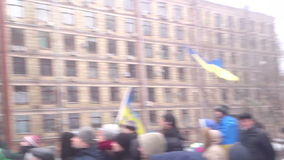 Maidan  2013 December 08. Crowd of people listening to a speaker who speaks about change their government stock video footage