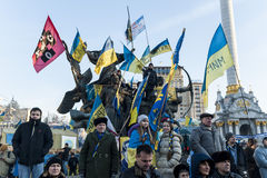 Maidan - dimostranti sul quadrato di indipendenza durante il raduno Immagine Stock