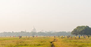 Maidan Kolkata en Victoria Memorial royalty-vrije stock foto