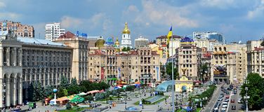 Maidan - Kyiv, Ukraine. A view of the Maidan in Kyiv, Ukraine in summer with a bright sky Royalty Free Stock Photography