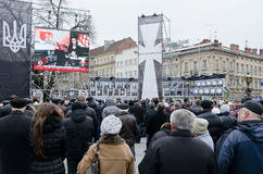 Maidan in Lvov Stock Photo