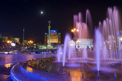 Maidan nezalezhnosti. Evening fountains in the central square of the capital of Ukraine Stock Images