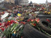 Maidan. Nezalezhnosti kiev revolution barricade flowers Royalty Free Stock Photos