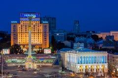 Maidan Nezalezhnosti at night before revolution. The Maidan Nezalezhnosti at night before revolution Stock Photography