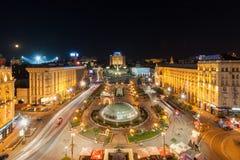 Maidan Nezalezhnosti at night before revolution. Kyiv, Ukraine Royalty Free Stock Image