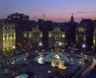 Maidan Nezalezhnosti square top view. With evening illumination Stock Photo
