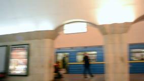 Maidan Nezalezhnosti subway station, Kiev, Ukraine,. KIEV - FEB 21: closed metro doors and people on Maidan Nezalezhnosti subway station during Euro maidan stock footage