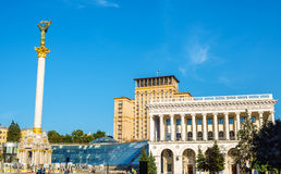 Maidan Nezalezhnosti (Unabhängigkeits-Quadrat) in Kyiv Stockbild