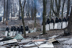 Maidan - police force on Hruschevkoho Street next to Maidan barr Stock Photos