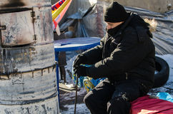 Maidan protesta el 31 de enero de 2014 en Kiev, Ucrania Fotos de archivo