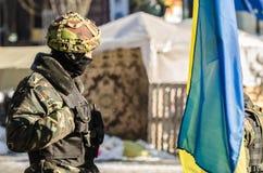 Maidan protesta el 31 de enero de 2014 en Kiev, Ucrania Foto de archivo libre de regalías