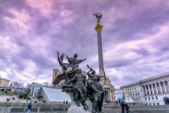 Maidan-Quadrat in Kyiv Ukraine an einem bewölkten Tag lizenzfreies stockbild
