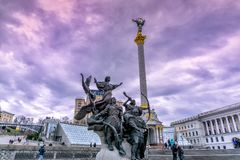 Maidan Square in Kyiv Ukraine on a cloudy day. Maidan Square in the city centr of Kyiv, Ukraine on a peaceful, cloudy day Royalty Free Stock Image