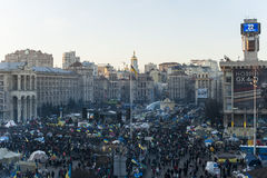 Maidan - view on mass protests on independence square. Kiev, Ukraine, 22 December 2013: Maidan - view on mass protests on independence square during rally Royalty Free Stock Photos