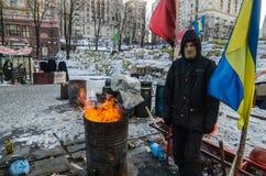 Maidanprotesten op 31 Januari 2014 in Kiev, de Oekraïne Stock Foto