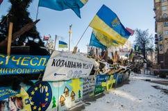 Maidanprotesten op 31 Januari 2014 in Kiev, de Oekraïne Stock Foto's