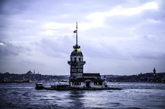 Maiden's塔在Ä°stanbul,土耳其 免版税库存照片