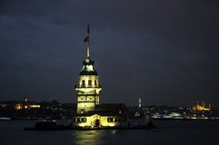 The Maiden's Tower in İstanbul, Turkey. The Maiden's Tower (Turkish: Kiz Kulesi), also known in the ancient Greek and medieval Byzantine periods as Royalty Free Stock Photo