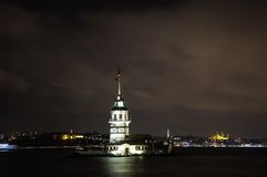 The Maiden's Tower in İstanbul, Turkey. The Maiden's Tower (Turkish: Kiz Kulesi), also known in the ancient Greek and medieval Byzantine periods as Royalty Free Stock Images
