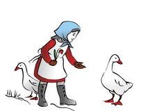 Maiden. Abstract illustration of maiden feeding the goose Stock Image